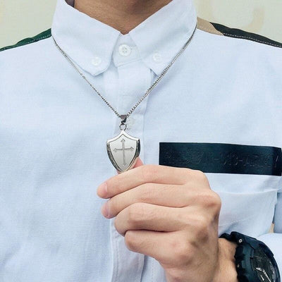 joshua 1 9 cross necklace mens