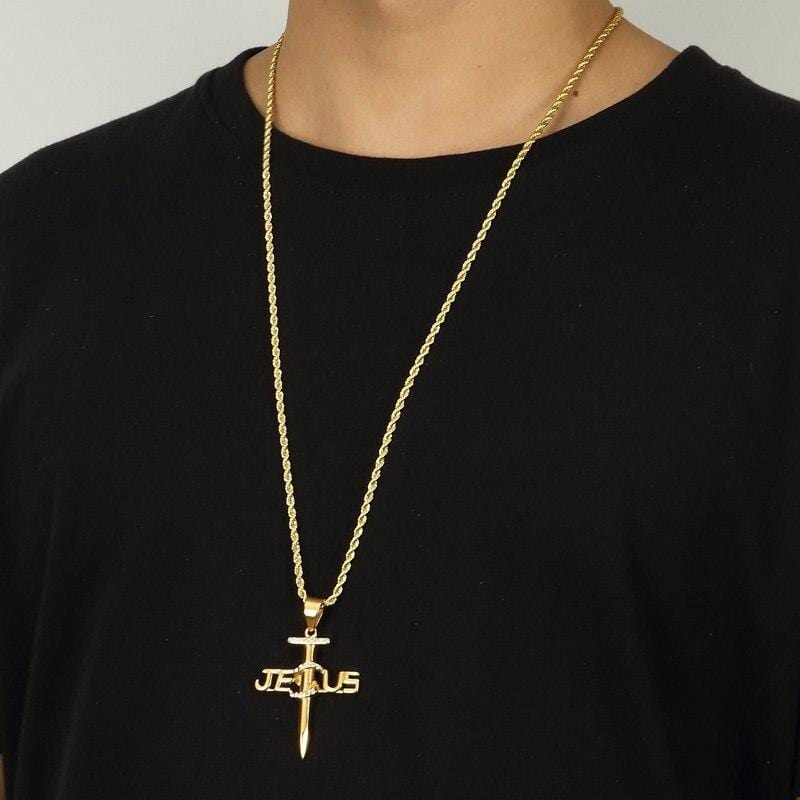 jesus nail necklace for men
