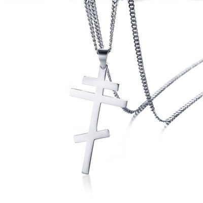 mens orthodox cross necklace silver