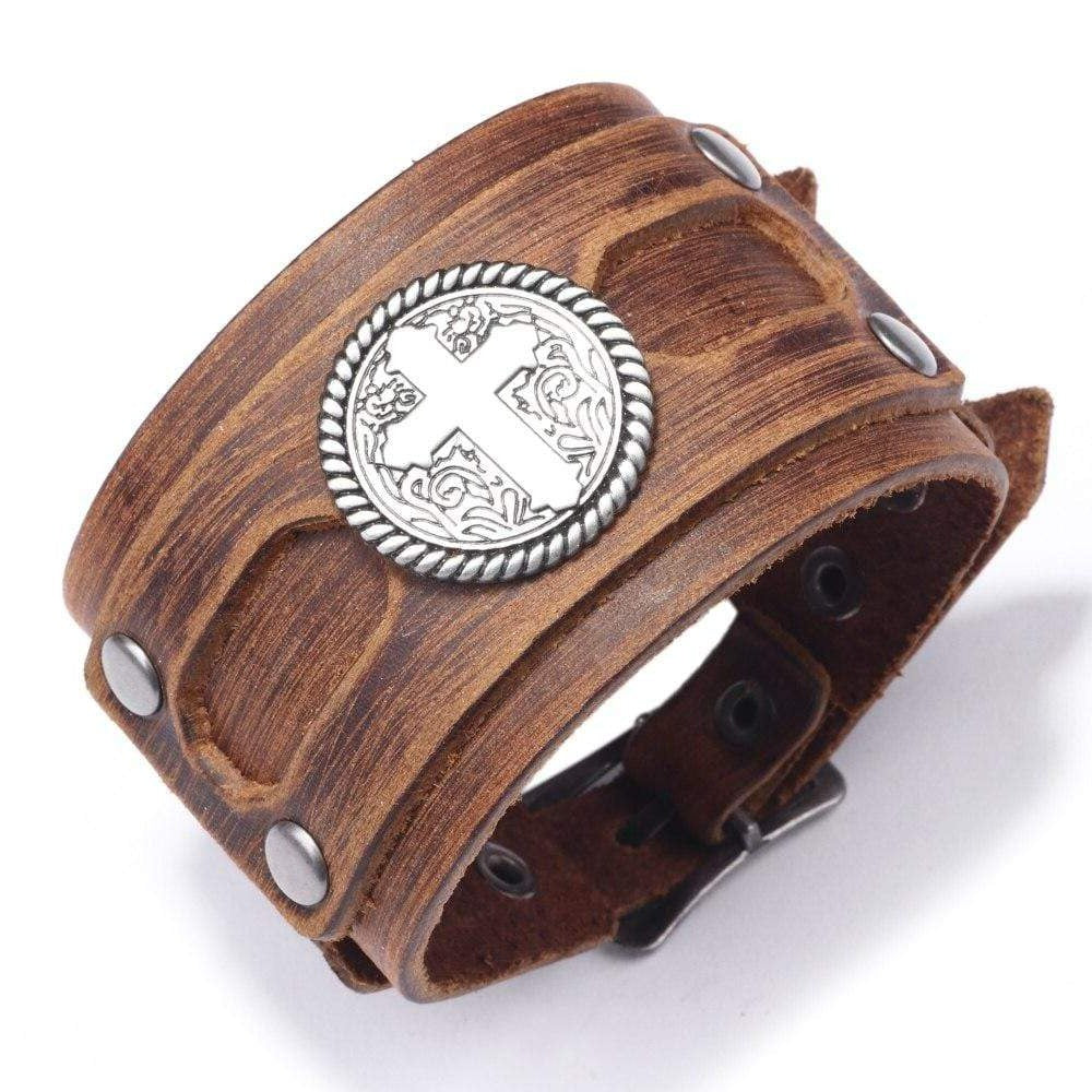 men's wide cross bracelet leather brown