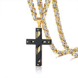 Men's Cross Necklace Lord's Prayer