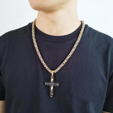 Lord's Prayer Cross Necklace for men