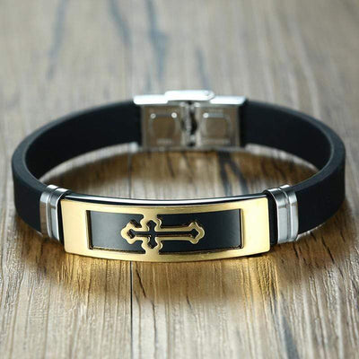 Rubber Cross Bracelet Gold