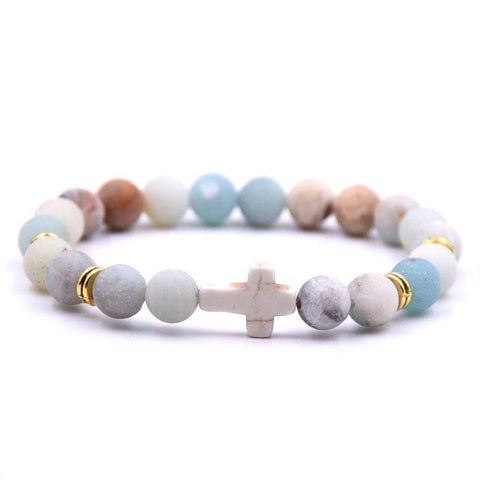 Stone Cross Bead Bracelet