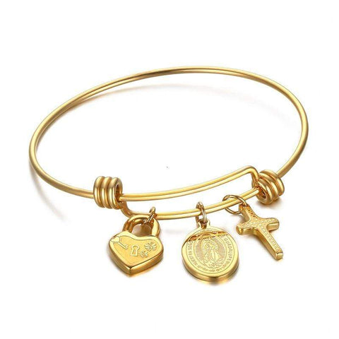 Bangle With Cross Charm