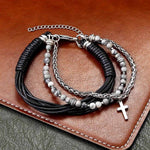 bead cross bracelet stainless steel and leather