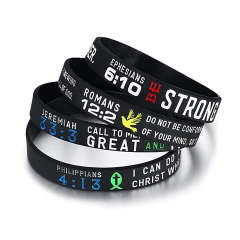 Bible Verse Bracelet <br> Pack of 4 Wristbands