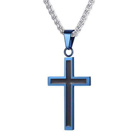 Black and Blue Cross Necklace