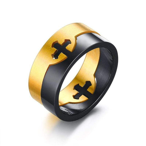 black and gold mens cross ring
