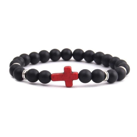 black bracelet with cross matte silver