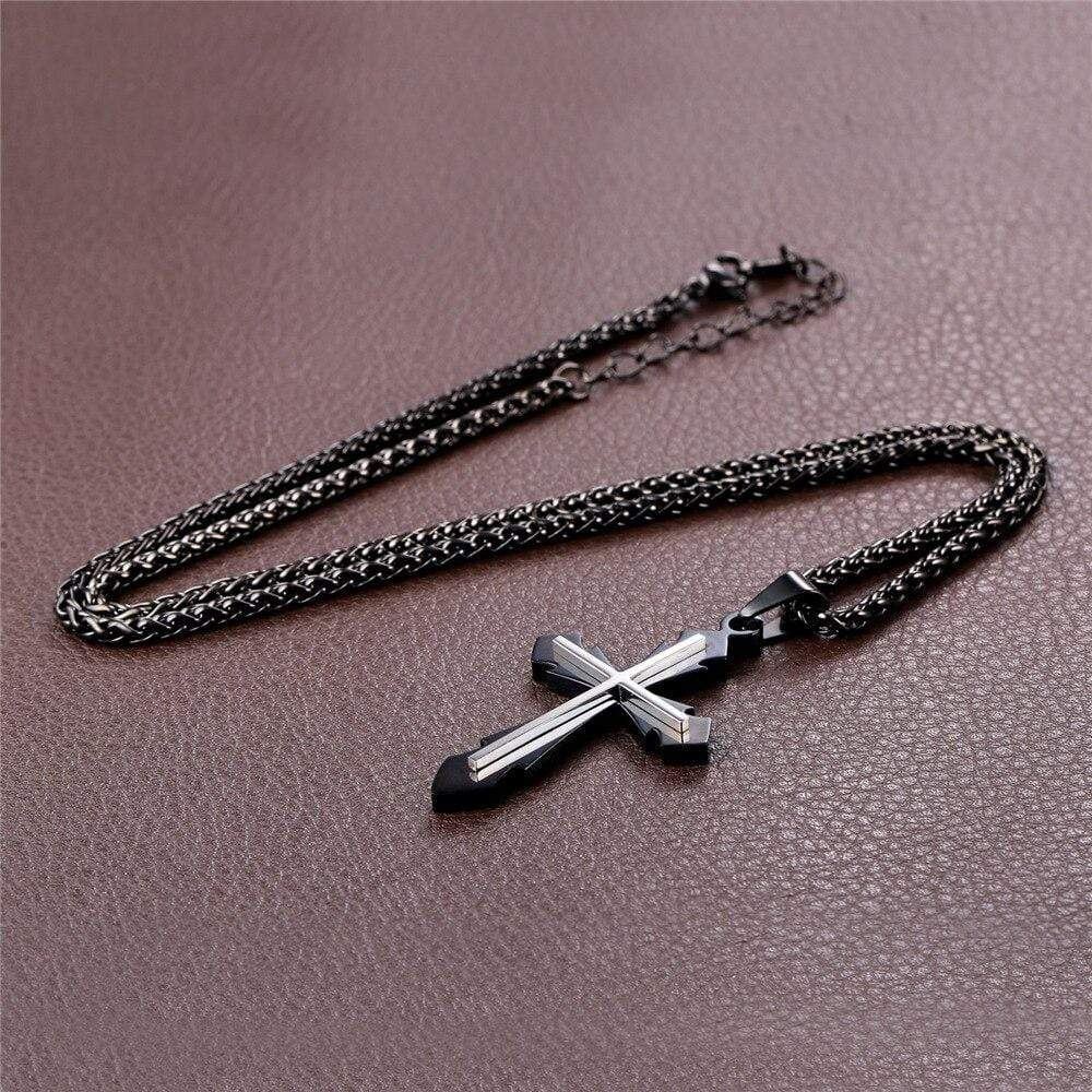 Christian black cross stainless steel necklace