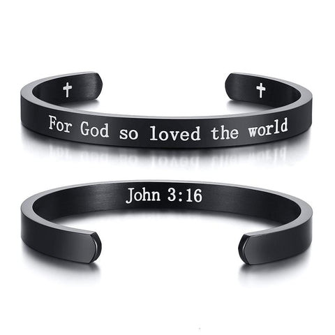 cuff bracelet with bible verse john 3:16 black