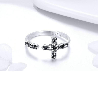 Christian Silver Black Diamonds Ring for Women