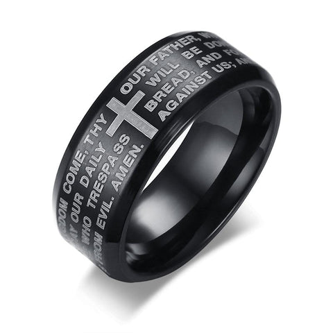 Black Lord's Prayer Ring