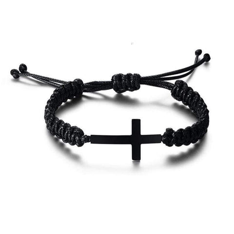 Black Rope Bracelet With Cross