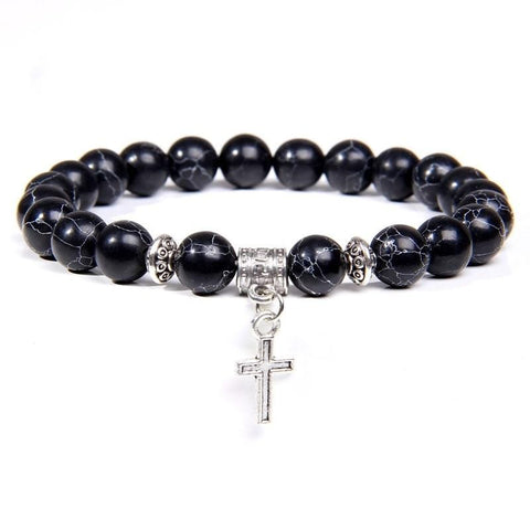 Stone Cross Charm Bracelet Black