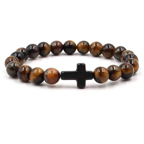 Tigers eye bead bracelet black cross
