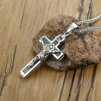 Black Tone INRI Crucifix Necklace