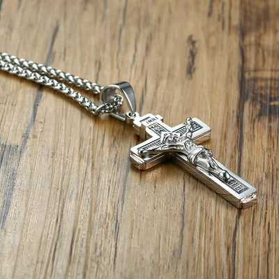 Black and steel INRI Crucifix Necklace