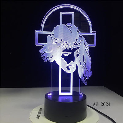 jesus 3d illusion lamp blue