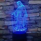 virgin mary table lamp blue