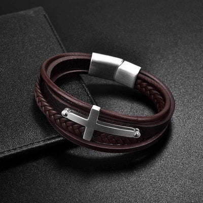 Men's Cross Brown Leather Bracelet