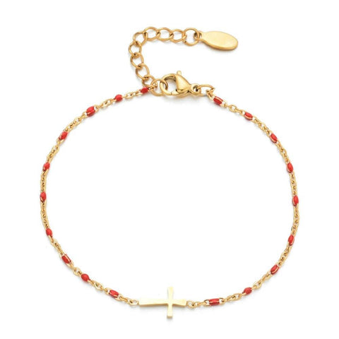 Women's Gold Cross Bracelet red