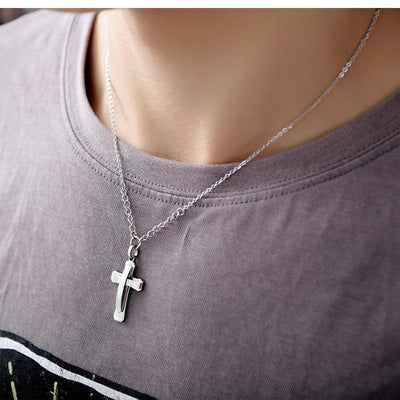 Men's Necklace Double Layers Stainless Steel Cross