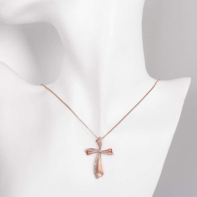 Women's Cross Necklace Rose Gold Plated