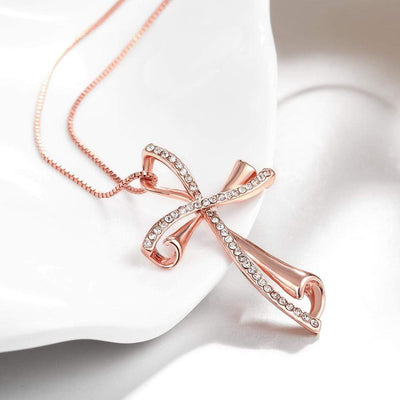Rose Gold Cross Necklace for Women