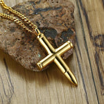cross necklace with bullet