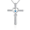 cross necklace with heart in the middle blue