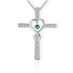 cross necklace with heart in the middle green
