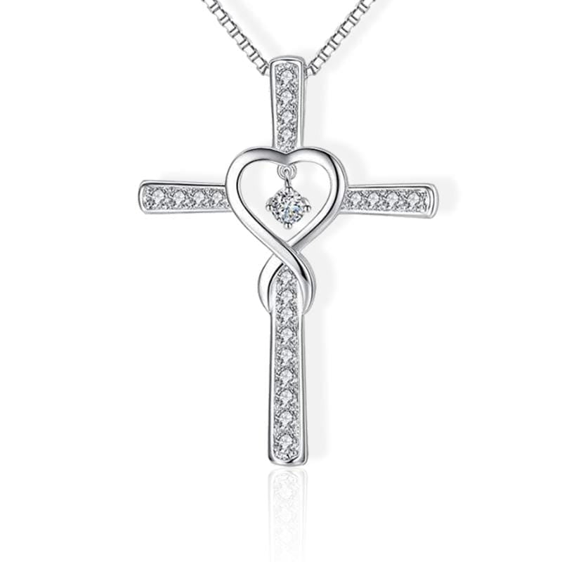 cross necklace with heart in the middle white
