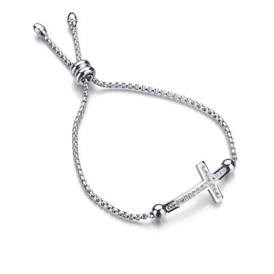 cross slide bracelet silver women