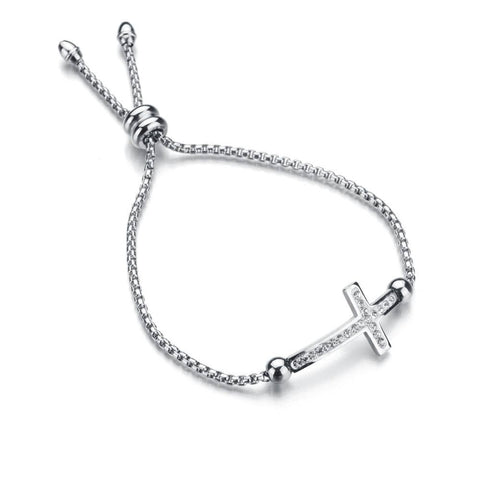 cross slide bracelet silver