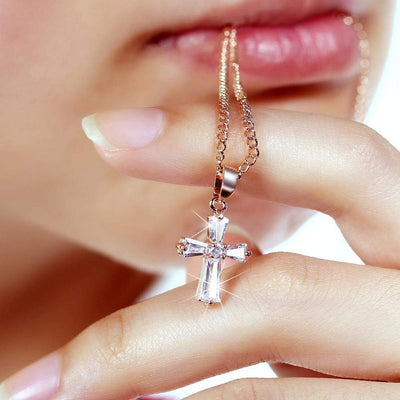 Cross Necklace made with Crystal
