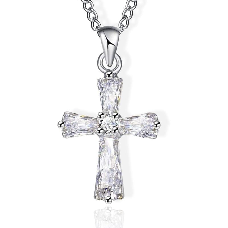 Crystal Cross Necklace silver