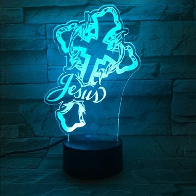3d night light table desk lamps christ jesus cross