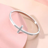Silver Plated Diamond Cross Bracelet For Womens