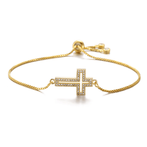 cross diamond bracelet gold