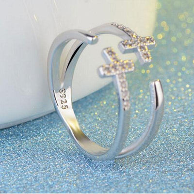 Sterling Silver Double Cross Ring for Women