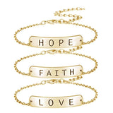faith love hope bracelet gold