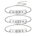 faith love hop bracelet silver