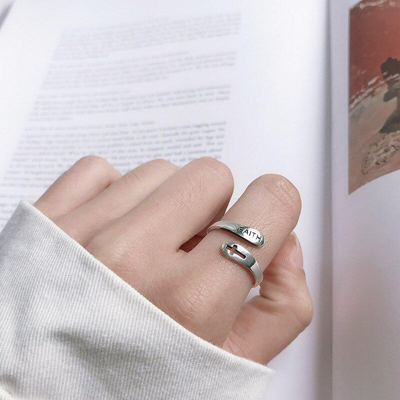 adjustable faith ring silver