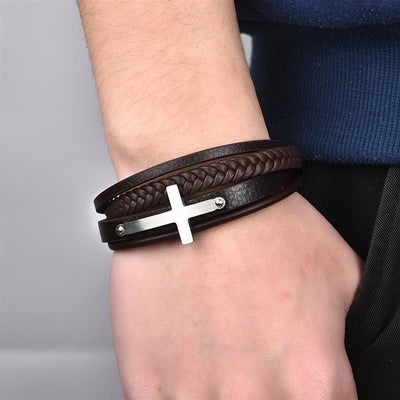 Cross bracelet for men with brown leather