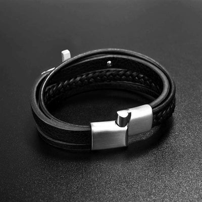 Men's Cross Bracelet<br> Black Leather Cross Bracelet