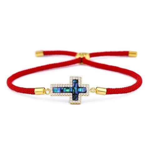 girls cross bracelet gold and red