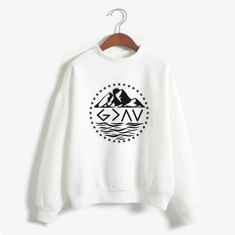 God is Greater Than the Highs and Lows Pullover White