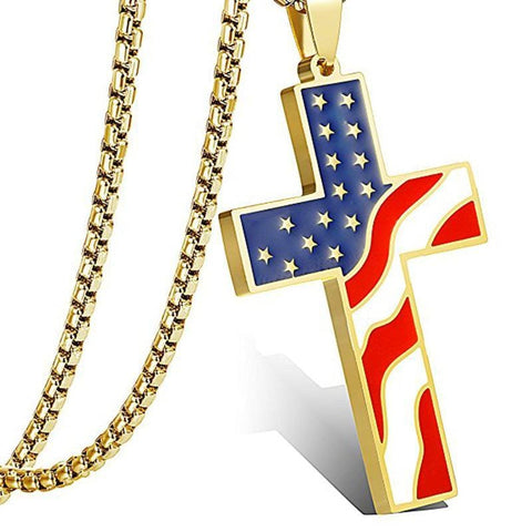 American Flag Cross Necklace gold